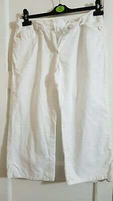 Next Girls Age 14 White Linen Blend Cropped Trousers D2
