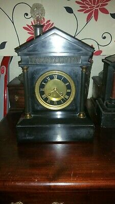 Antique French Black Slate Architectural Temple Mantle Clock