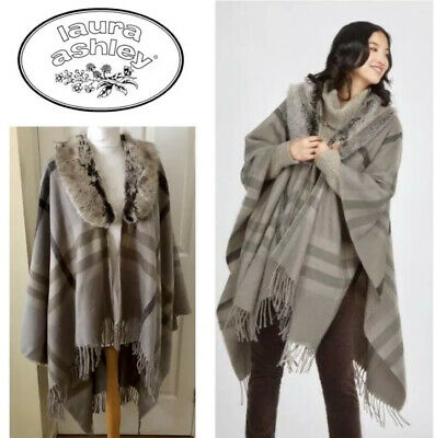 NEW WITH TAGS FUR COLLAR CHECK WRAP / Shawl Blanket Tweed Retails £95 SALE !!