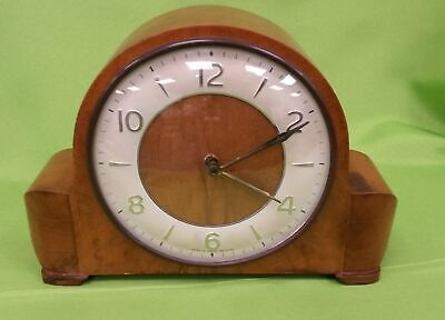 Smiths Oak Wood Mantle Clock With Winding Key, Chiming, Working #132
