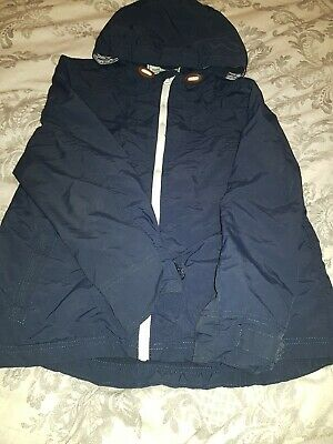 Navy Blue Lightweight Hooded Jacket/boys/aged10to11/good Used Condition