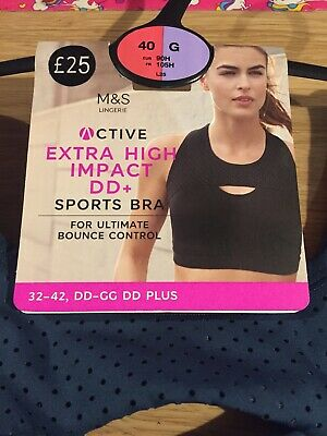 NEW M&S Active Extra High Impact Full Cup Sports Bra 40G Anti Bounce Panel