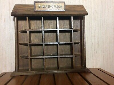 Wooden Vintage Wall Hanging Display Shelf Labeled Antiques