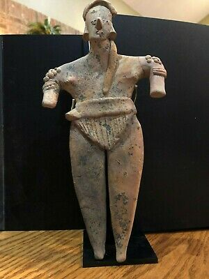 "Large Pre-Columbian Colima Male Figure 11 3/4 "" High Circa 100 BC -250 AD"