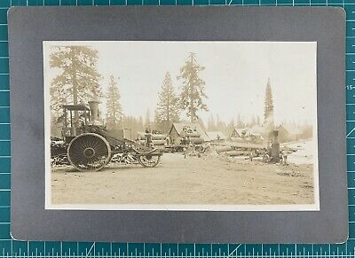1900s Dunsmuir California Lumber Camp Occupational Board Mounted Photograph