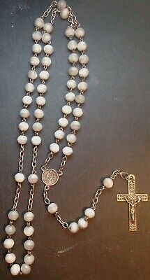 Antique French  Mother Of Pearl Rosary  Ornate Fleur De Lis Cross