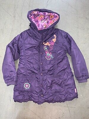 PAMPOLINA GIRLS PURPLE PADDED HOODED COAT SIZE 98 Age 3/4 Yrs