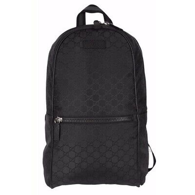 Authentic NWT Gucci  Black Nylon GG Guccissima Backpack Rucksack Travel Bag