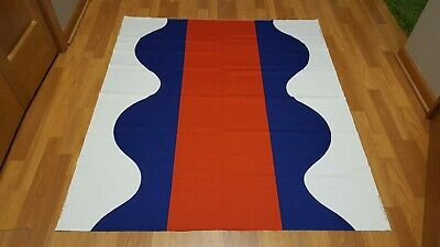 Awesome RARE Vintage Mid Century retro 70s huge red blue wave drop Fujie fabric!