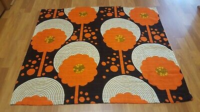Awesome RARE Vintage Mid Century retro 70s groovy flower record brn org fabric!