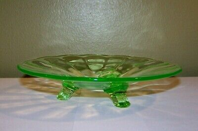 VINTAGE Green Depression Uranium Glass Footed BON BON Candy Dish