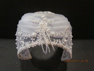 Exquisite VINTAGE Bridal Wedding Head Hair Piece/Cap w Floral Embroidery Pearls