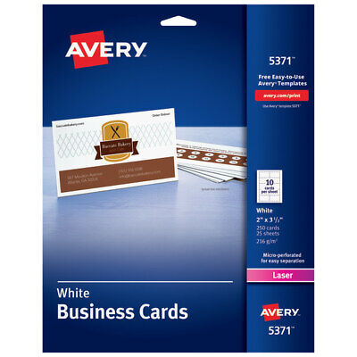 """Avery Laser Microperforated Business Cards, 2"""" x 3 1/2"""", White, Pack Of 250"""