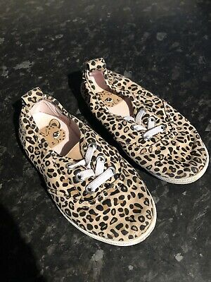 H&M Girls Infant Leopard Animal Print Slip On Trainers Pumps Size 8 Worn Once