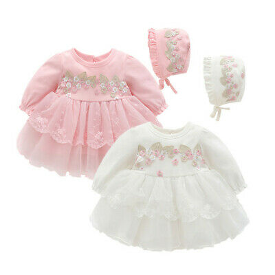 Toddler Infant Baby Kids Girls Party Lace Tutu Princess Dress+Hat Clothes Outfit