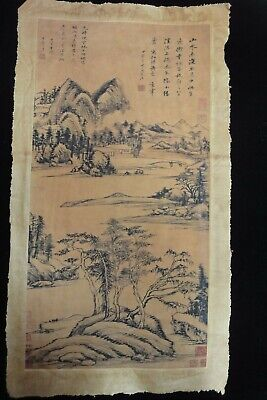 Large Old Chinese Paper Painting Beautiful Landscape and Marks