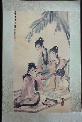 "Large Chinese Paper Painting Beautiful Women ""FuBaoShi"" Marks"