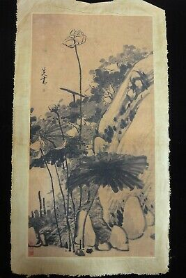 Large Rare Old Chinese Paper Painting Beautiful flowers Marks