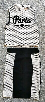 Girls Pink & Black 2-Piece Top & Skirt River Island 3-4 Yrs Exc Cond