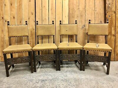 Set of 4 Jacobean Gothic Style Carved Oak Dining Chairs For Refurbishment.