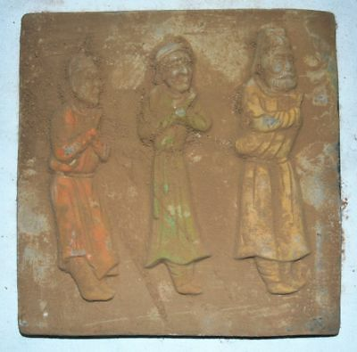 China Tang Tomb Burial Wall Painting Clay Fired Pottery Mural Brick Men Statue