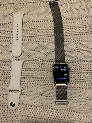 Apple Watch Series 3 38mm Stainless Steel Case with Soft White Sport Band (GPS +