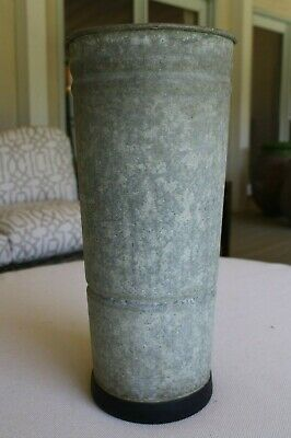 Authentic Large Vintage Galvanized Zinc Florist Bucket Vase