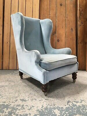 Large Vintage Victorian Wingback Fireside Armchair in Light Blue Upholstery.