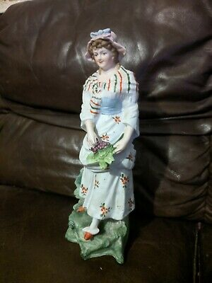 """Vintage antique bisque parian hand painted lady with grape figurine, 12"""""""