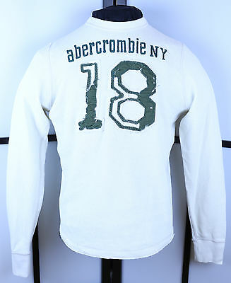Abercrombie & Fitch White Crewneck L/S Sweater Size XL Green 18 Distressed Kids