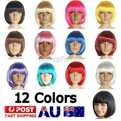 Women Short Straight BOB Sleek Hair with bang Synthetic Cosplay Wig Wigs Party H