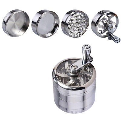 60mm Zinc Hand Mill Tobacco Herb Spice Grinder Silver 4 Part Comprtment Pieces