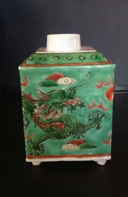 Ha Cha Gong Si Chinese Export Porcelain Square Tea Caddy