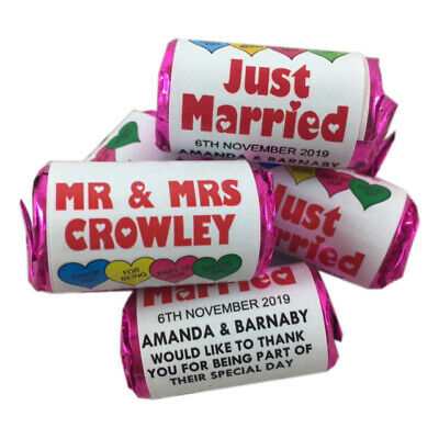 Personalised Love Heart Sweets Wedding Favours Just Married Mr Mrs Thank you