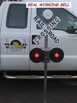 LED Alternating Lights 5 Foot Railroad Crossing Real Working BELL