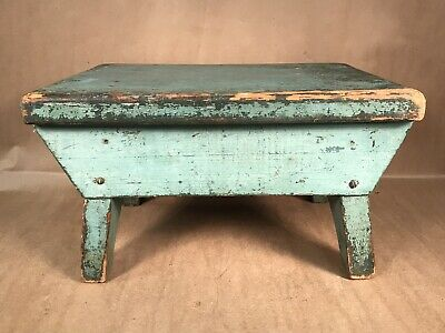 Old Antique Primitive Wooden Step Stool Country Rustic Farmhouse Decor