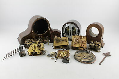 Job Lot Of Assorted Vintage CLOCK CASES / MOVEMENTS & PARTS