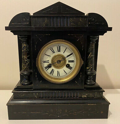 Antique Victorian German Ebonised Wood Case 14 Day Striker Mantel Clock H.a.c.