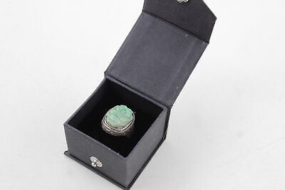 Vintage .925 Sterling Silver Chinese Export ART DECO RING w/ Carved JADE Panel