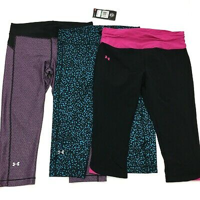 Lot of Womens Under Armour Compression Cropped Leggings Size L Large 12-14 New