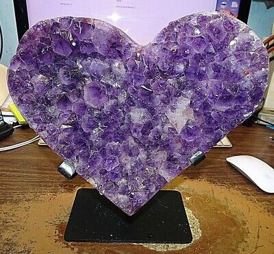 X-Large Amethyst Crystal Cluster Heart Geode F/ Brazil Cathedral   Steel Stand