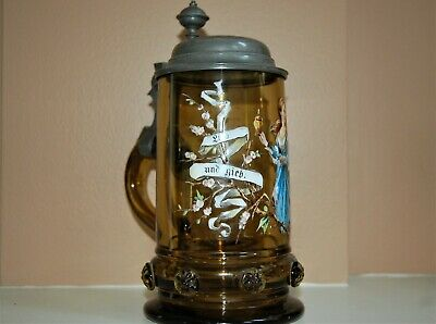 Antique German Tankard-Stein Gold Glass Hand Painted.Signed On Pewter Lid/Glass