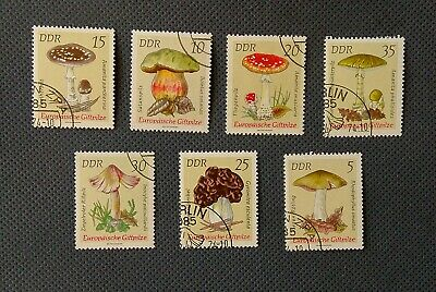 12 UK Post Stamps Collection MUSHROOMS from GDR DDR East Germany