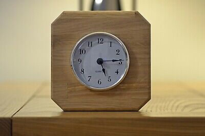 Solid Oak Wooden Square Quartz Mantle Clock Handcrafted Mother's Day Gift New