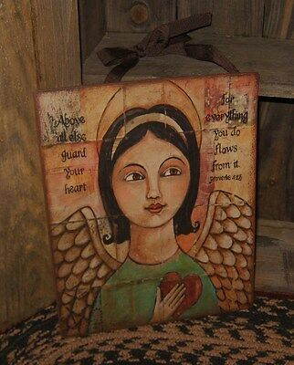 Folk Art ANGEL Wall Sign*Wings*Heart*Primitive/French Country/Religious Decor