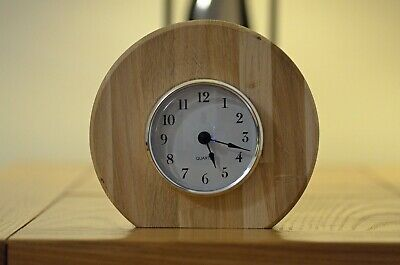 Solid Oak Wooden Round Quartz Mantle Clock Handcrafted Mother's Day Gift New