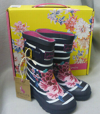Joules Junior 207175 Chinoise Floral Stripe Wellington Wellies Box Child Size 9