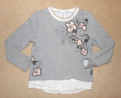 Grey POLARN O PYRET girls TOP age 6-8 years - floral PO.P