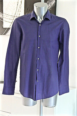 Pretty Shirt Midnight Blue Hugo Boss Black Label Size 40 15 3/4 Slim Fit