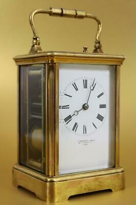 ANTIQUE CARRIAGE CLOCK strike repeater LONDON RETAILER working, some restoration